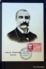 OCTAVE TERRILLON 1957 FRANCE Carte maximum premier jour 1° timbre Yt1097