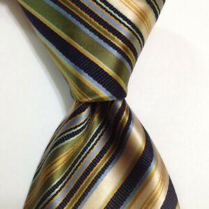 BRIONI Men's Silk/Cotton XL Necktie ITALY Luxury STRIPED Blue/Green/Yellow EUC