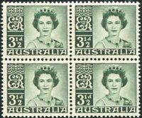 Australia 1959 SG312 3½d deep green QEII block MNH