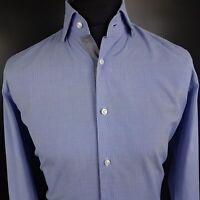 HUGO BOSS Mens Dress Shirt 40 15 3/4 MEDIUM Long Sleeve Blue Regular Fit Check