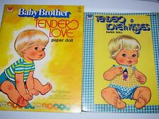 Lot of Two vtg Baby Brother Tender Love Love'n Kisses Paper Doll Whitman Books