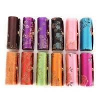 Lipstick Case Holder Retro Embroidered Flower Design Lipstick Box With Mirror-