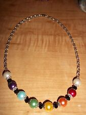 "19.5in Magnetic Clasp RAINBOW Glass PEARL Bead ""GAY PRIDE"" Lesbian Necklace R-08"