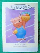 HALLMARK 1995 Ham 'n Eggs PIG IN OVERALLS EASTER ORNAMENT Easter Tree-NIB+pt