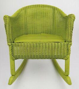 Antique Gendron Wheel Co Children's Green Wicker Rocking Chair Shabby Chic Cute