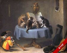 CAT MONKEY & OWL MUSIC CHOIR WIERD FUN ANIMAL PAINTING PET ART REAL CANVAS PRINT