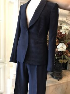NWOT Giorgio Armani Navy Striped  Jacket and Pants 2 PCS Suits  ( 42 )