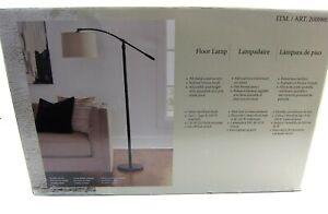 Opened Box Jackson Floor Lamp in Dark Bronze Finish w Foot Switch Oatmeal Shade