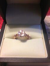 10k.- 1.31 Carat Peach Morganite Diamond Genuine Engagement Ring Rose Gold 6.5.
