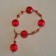 "Handbeaded Bracelet w/Dangle Red & Gold  8""  Acrylic/Czech Glass"