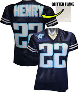 Customizable Womens Blinged Football Navy Jersey, Derrick Henry, Titans