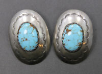 Sterling Silver Southwestern Styled Stamped Large Oval Turquoise Earrings