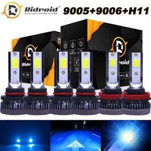 Ice Blue 9005+9006 H11 LED Combo Mini Headlights Bulb Kit Hi-Low Beam 8000K 160W