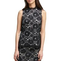 DKNY NEW Women's Lace Sleeveless Blouse Shirt Top TEDO