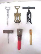 Lot of 6 Vintage Barware Corkscrews & Air Wine Opener - Plastic, Wood, Metal