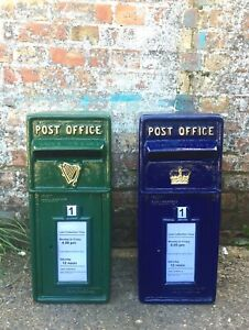 Scottish/Irish British Cast Iron Post Box - Blue, Green ER GR VR