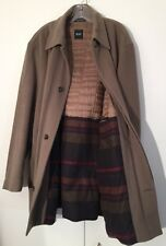 HUGO BOSS Tan Brown Men's Jacket Long Coat Striped Lining Sz 46R Portugal