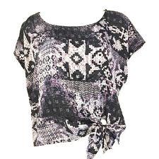 HIP Womens Top sz L Purple Aztec Print Short Sleeve tied waist Casual Fun C41