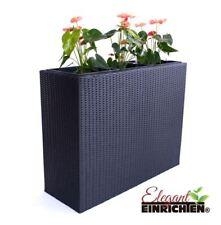 Pflanztrog Blumentrog Rechteckig Übertopf Raumteiler Polyrattan 82x30x50 schwarz