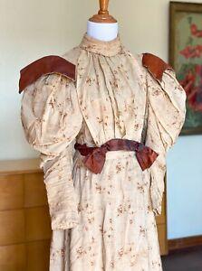 1890s Victorian Dress Set 2 Piece Skirt Blouse Leg O Mutton Sleeves Antique Vtg