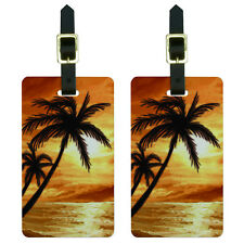 Palm Trees And Sunset Orange - Beach Tropical Ocean Luggage ID Tags Set of 2