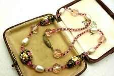 VINTAGE JEWELLERY ART DECO WEDDING CAKE GLASS PEARL NECKLACE LOVELY