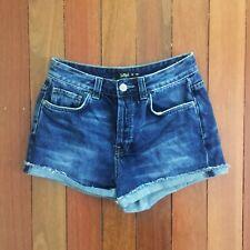 Sportsgirl Dark Denim Shorts Lightly Distressed | Size 10 | Mid Rise