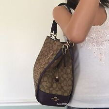 NEW! COACH Gorgeous Brown Signature Purple Leather Carryall Shoulder Bag Purse