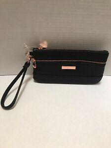 ADRIENNE VITTADINI Two Zip Pocket Wristlet Black Pebble Rose Gold PVC New! Tags!