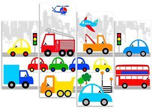 Vehicle Cityscape - Car, Bus, Fire Engine Boys 4 Panel Canvas Art Print Picture