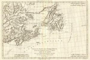 Isle et Banc de Terre-Neuve, Isle Royale… Gulf of St Lawrence. BONNE 1790 map
