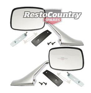 Holden Door Mirror + Stalk + Fitting Kit Pair HQ HJ HX HZ WB Torana LH LX UC