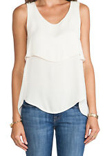 """Theory """"Apala"""" Silk Tank NWT size XS Nude Cream Blouse Top Shirt Layer Tiered"""