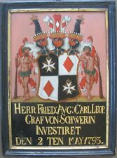 Large 18th c. Oil-Coat of Arms Funerary Hatchment for a Count