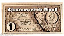 Espagne SPAIN ESPANA AJUNTAMENT DE RIPOLL Billet 1 PESETA  1937 NEUF UNC