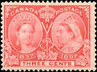 1897 Mint Canada F+ Scott #53 3c Diamond Jubilee Issue Stamp Hinged
