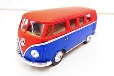 """Volkswagen Classic Bus 1962 Rouge et Bleu """"Mat"""" KINSMART 1/32 Diecast NEUF"""