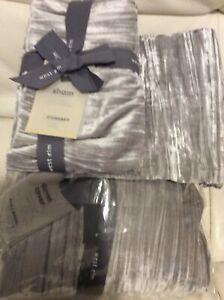 West Elm Lush Crinkle Velvet F/Q Duvet Cover & 2 Std Shams New Platinum Gray