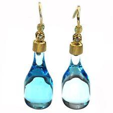 De Buman 31.67ctw Topaz & Diamond Solid 18K Yellow Gold Earrings