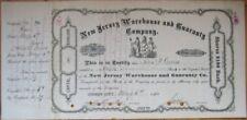 1884 Stock Certificate - New Jersey City Warehouse - NJ
