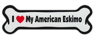 Dog Bone Shaped Car Magnets: I LOVE MY AMERICAN ESKIMO