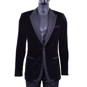 Dolce & Gabbana Baroque Velvet Tuxedo Jacket Blazer Jacket Black 05496