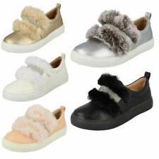Girls Spot On Diamante Strap Fur Trim 'Shoes'