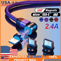 180+360° Rotate Magnetic Phone Cable Micro USB TypeC Charger For iPhone Samsung.