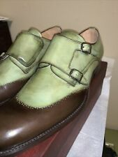 Mezlan Green Leather Double Monk Strap Loafer size 11