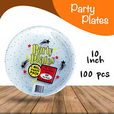 Disposable Plastic Plates 10 Inch 100/Pc Round White Plate Party Occasions New