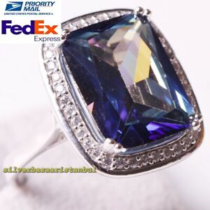 Turkish 925 Sterling Silver Tourmaline Stone Multi Color Ladies Womans Ring Size
