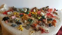 Vintage Lot 70+ Miniature Toy Animals + 2 Dinosaurs A7