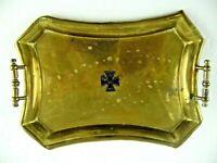 WWI German Trench Art Brass Pin Tray 1914 Iron Cross Raised Emblem Trinket Dish