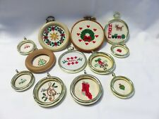 Lot Of Handmade Petit Point Christmas Round Framed Ornaments
